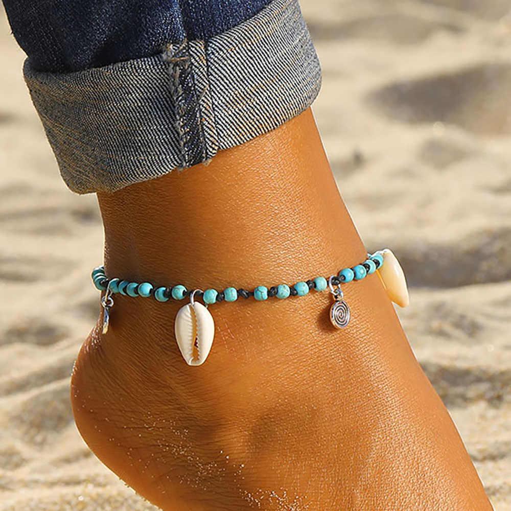2019 Boho Multilayer เต่าลูกปัด Anklets สำหรับผู้หญิง Moon Sun VINTAGE Beach เชือกข้อเท้าสร้อยข้อมือขาเท้าฤดูร้อนเครื่องประดับ