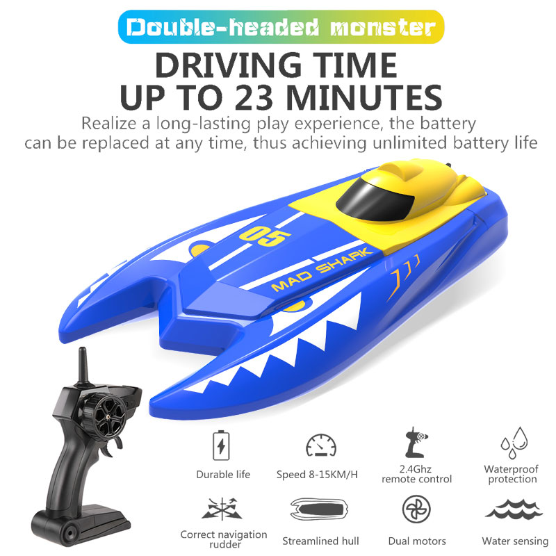 H128 Rc Boat 1/47 2.4GHz Remote Control Speed mini Boat Dual Motors 15km/h 20minutes Fligt Time RC Ship Speedboat Electric Toys