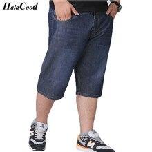 HALACOOD 2017 männer Shorts Jeans Marke Sommer Neue Mode Große Kerl Shop große Plus Größe 40 42 44 46 48 Elastischer Baumwolle Männlichen Jeans