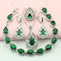 Green Stone Silver Color Jewelry Sets For Women Jewelry Around The Neck Drop Earrings/Bracelet/Pendant/Necklace/Ring Free Box