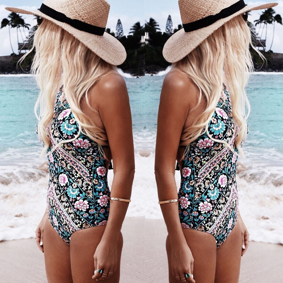 Sexy Women One Piece Swimsuit Retro Floral Monokini High Neck Swimwear Women Halter Bathing Suit Trikini Backless Bodysuit 1