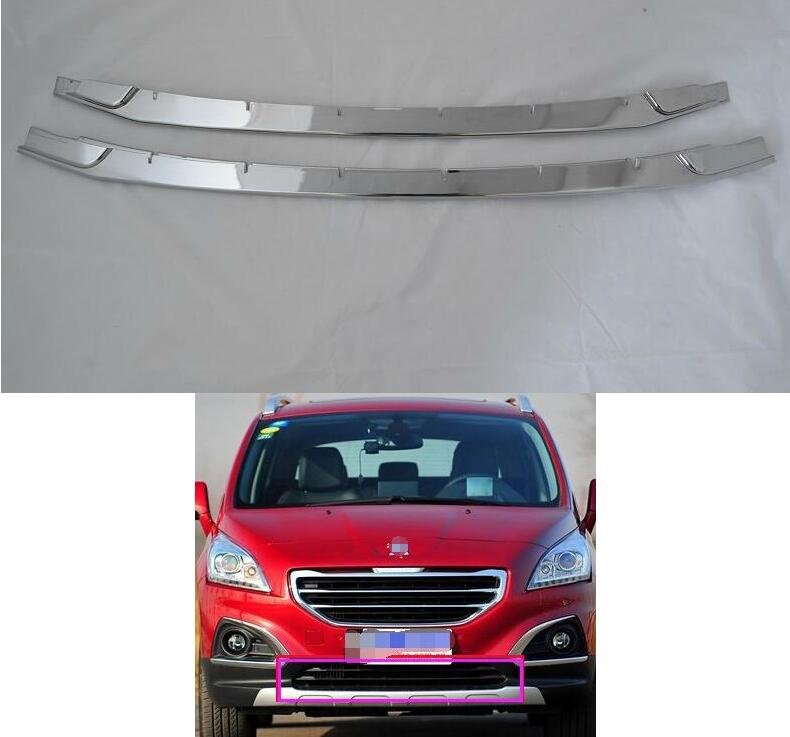 For 2013 Peugeot 3008 ABS Chrome Front Grille Around Trim Front bumper Around Trim Racing Grills Trim abs chrome front grille around trim racing grills trim for kia cerato k3 2013