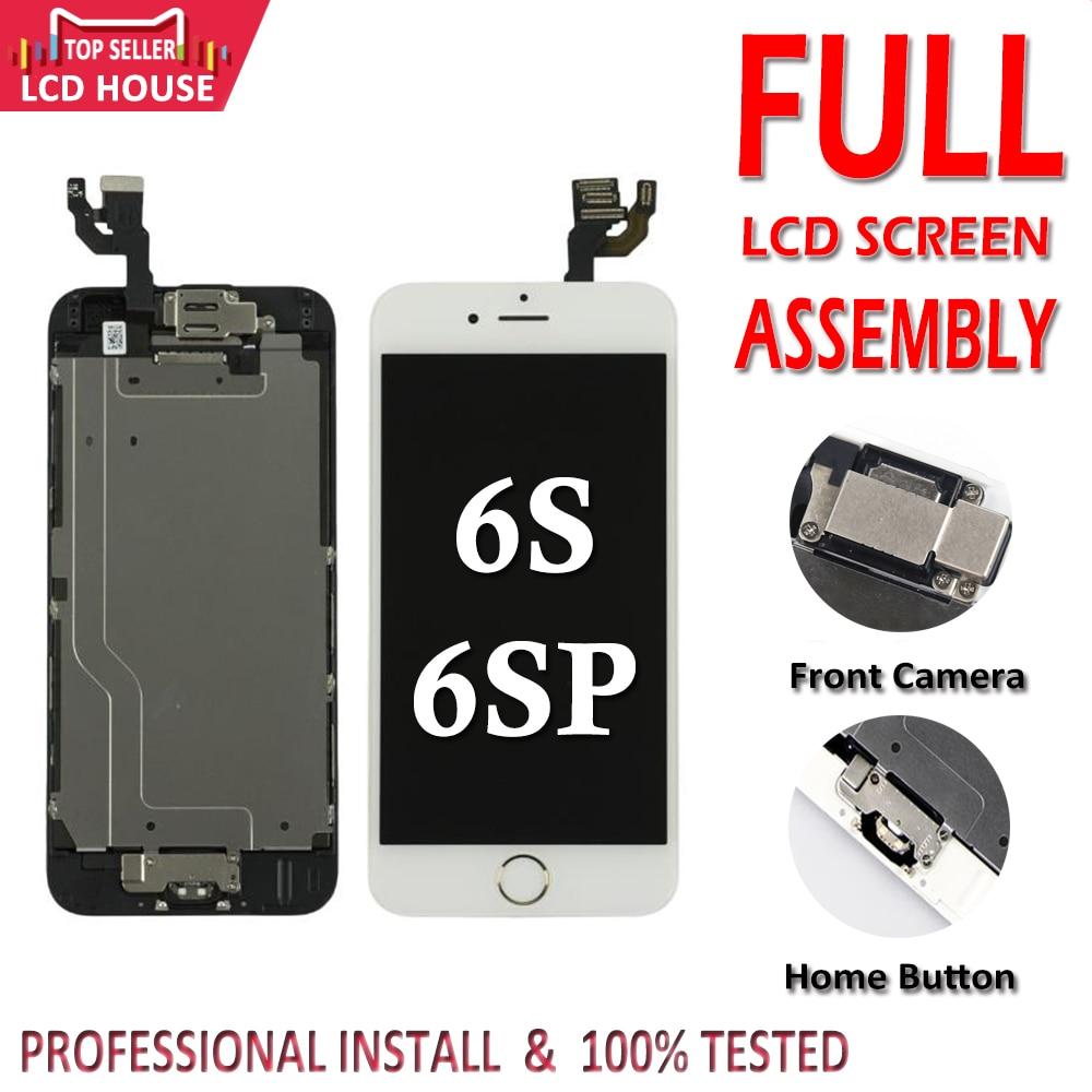 Полный комплект lcd для iPhone 6 S 6 S Plus lcd с домашней кнопкой фронтальная камера полная сборка Дисплей сенсорный экран дигитайзер Замена-in ЖК-экраны для мобильного телефона from Мобильные телефоны и телекоммуникации