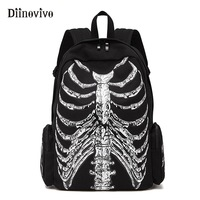 DIINOVIVVO Multifunction School Bags Unisex Skull Skeleton Printed Backpack Gothic Punk Style Women Designer Travel Bag WHDV0245
