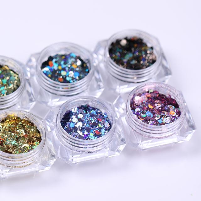 Holographic Nail Powder Holographic Irregular Sequins Flake Shinning Pigment Nail Art Glitter Powder Dust