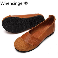 Whensinger - 2017 New Arrival Woman Shoes Slip On Ladies Brand Flats Genuine Leather Style 2 Colors D1611 whensinger 2018 new spring new shoes buckle strap flats genuine leather fashion design 8567