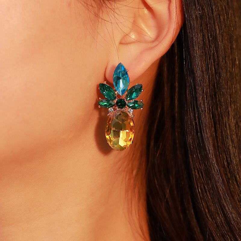 Creative Trend Cross-border Jewelry Europe And The US Big-name Rhinestone Crystal Pineapple Earrings Personality Fruit Earrings