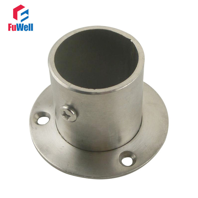 2pcs 22mm Socket Diameter Flange Pipe Bracket 46mm Height Closet Rod Hanger  Flange Bracket