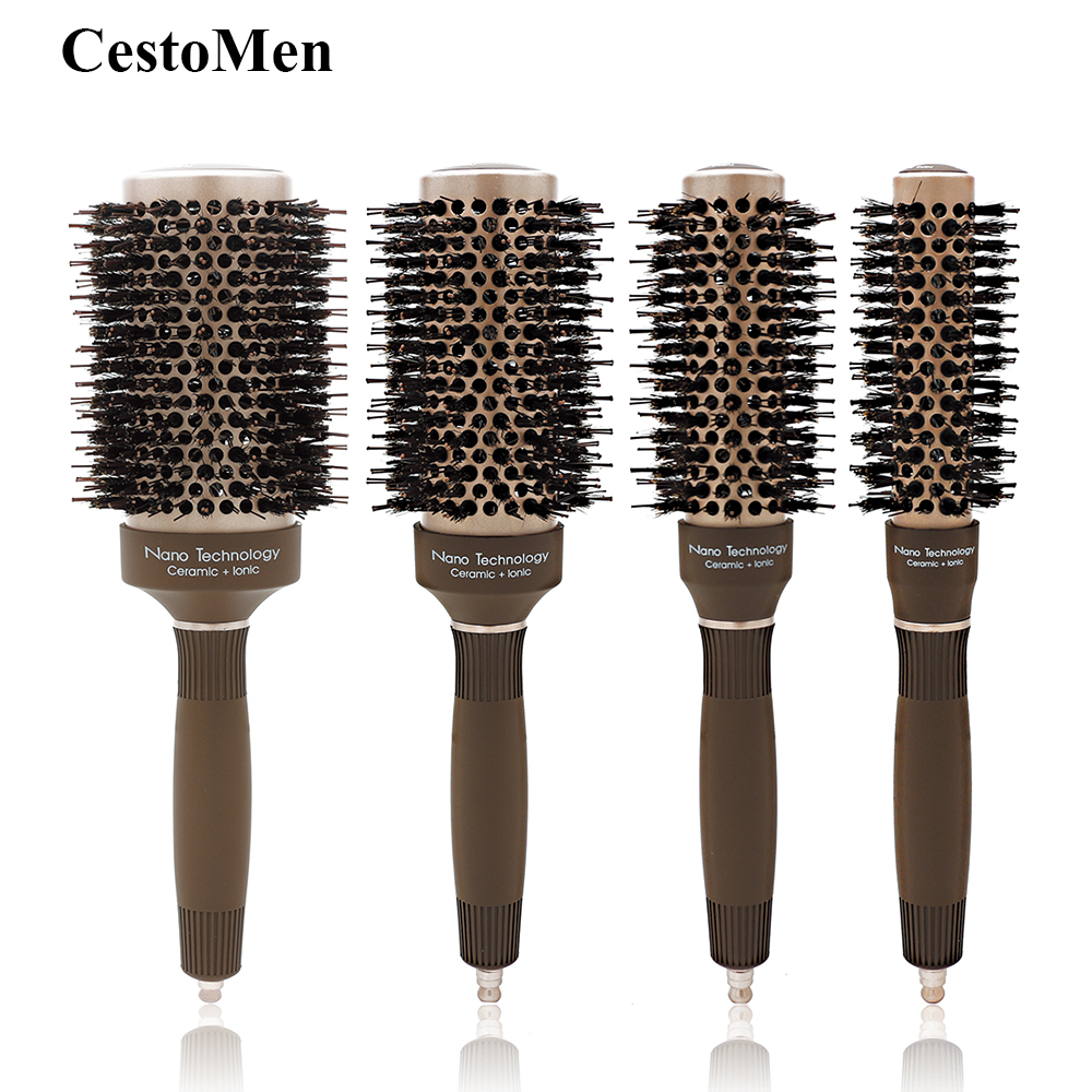 CestoMen New Nano Technology Ionic Ceramic Hair Aluminum Brush Boar Bristle Hair Curly Comb Round Brushes For Hairdressing Salon