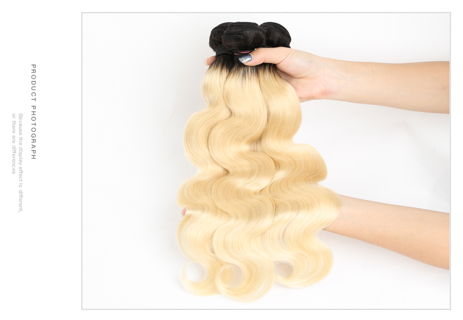 HTB1Ya1vXZrrK1RjSspaq6AREXXaB Facebeauty Brazilian Human Hair 2 Tone Dark Roots Ombre Blonde Hair 3 Bundles With Lace Closure 1B/613 Body Wave Color Hair Weft