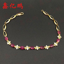 18 k gold inlaid natural Burmese ruby bracelet with female 3x6mm