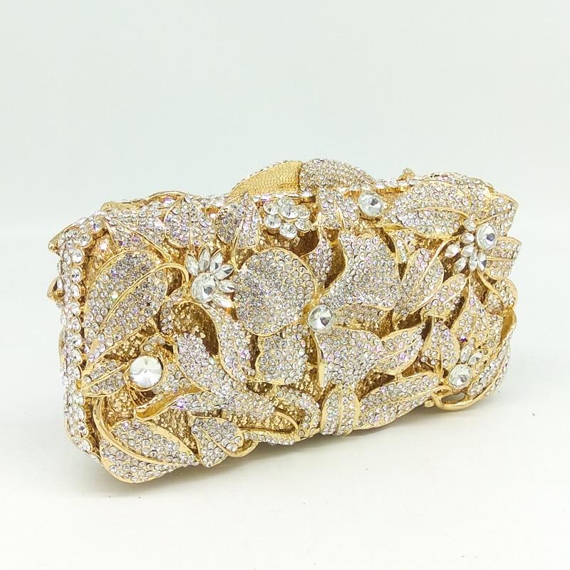 Boutique De FGG Gold Plated Silver Crystal Women Evening Bag Hollow Out Flower Rhinestone Handbag Purse Wedding Party Clutch