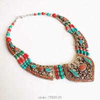 TNL151 Genuine Tibetan Jewelry Nepal Copper inlaid Stone Coral Big Pendant necklace Tibet Tribal Amulet Necklaces