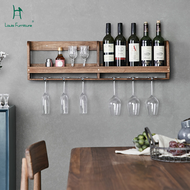 US $143.82 11% OFF|Louis Fashion Kitchen Cabinets Black Walnut Solid Wall  Hung Wine Rack Simple Wall Restaurant Hanging Cup Holder Upside Down-in ...
