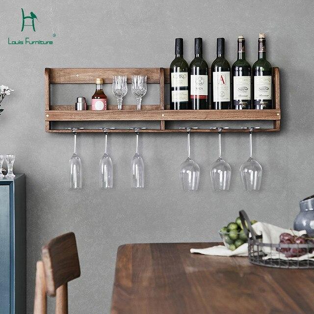 Louis Fashion Kitchen Cabinets Black Walnut Solid Wall Hung Wine
