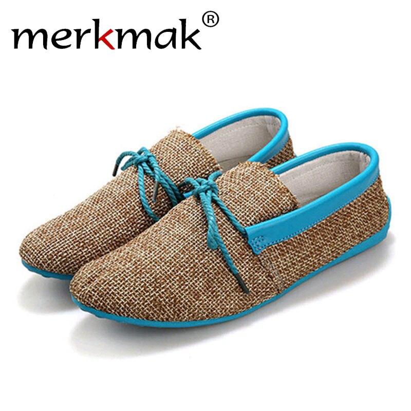 Merkmak moda Casual hombres playa zapatos mocasines transpirable verano cáñamo tejer hombre pisos conducción suave zapatos mocasines envío de la gota