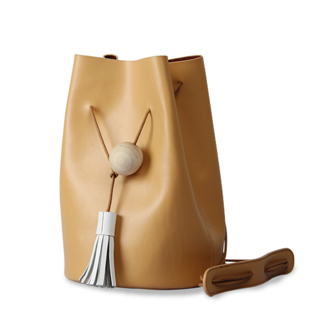 100% genuine leather women bucket bag retro minimalist shoulder bag vintage  messenger bag small travel bag handbag 85890e797d0bf