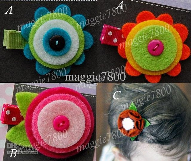 "Wholesale - 2"" Baby felt hair bows hair clip Girls' Hair Accessories Baby hair clips felt ribbon bows A384"