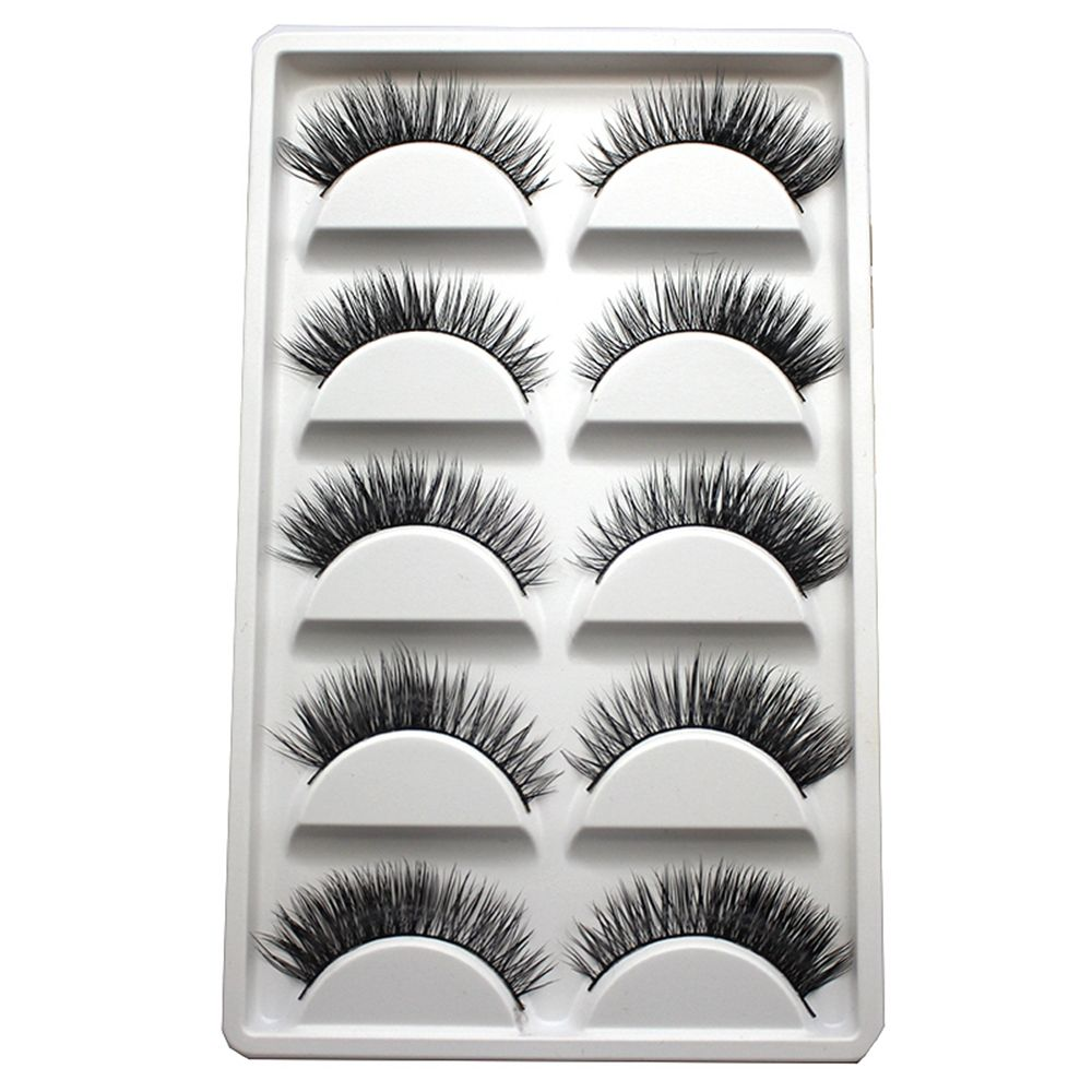 5Pairs/Box Handmade Real Mink Beauty Long Natural Makeup Thick Fake False Eyelashes Black Eye Lashes Extension Tools