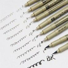 7 pçs/lote Micron Agulha para Animação de Desenho Esboço Dos Desenhos Animados Caneta Gel Caneta de Tinta Papelaria Arquivamento Fontes Da Arte