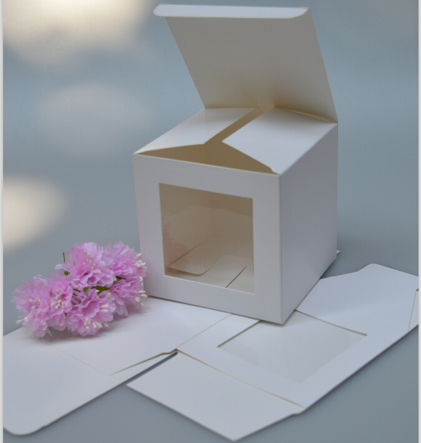 Us 9 88 5 Off Qi Paper Carton Box With Clear Window White Cardboard Packing Box White Gift Box Packaging 20pcs Lot Paper Craft Jewelry Box In Gift