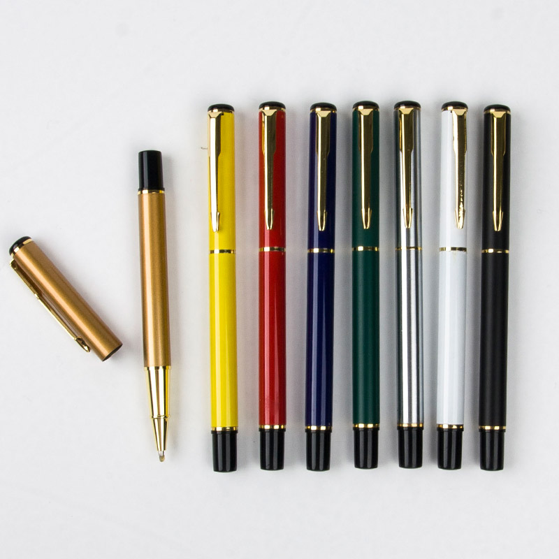 Promotion Wholesale 8Pcs/set 801 Luxury Gold Clip Fountain Pen Mix Colors 0.7mm Nib Metal roller ball pens Set Christmas Gift wholesale sales promotion ballpoint pen jinhao 1683 gold roller ball pen steel metal dragon gift silver send a refill yy12