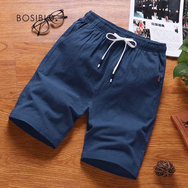 Mens Summer Cotton Solid Casual Shorts Elastic Waist Top Quality 1