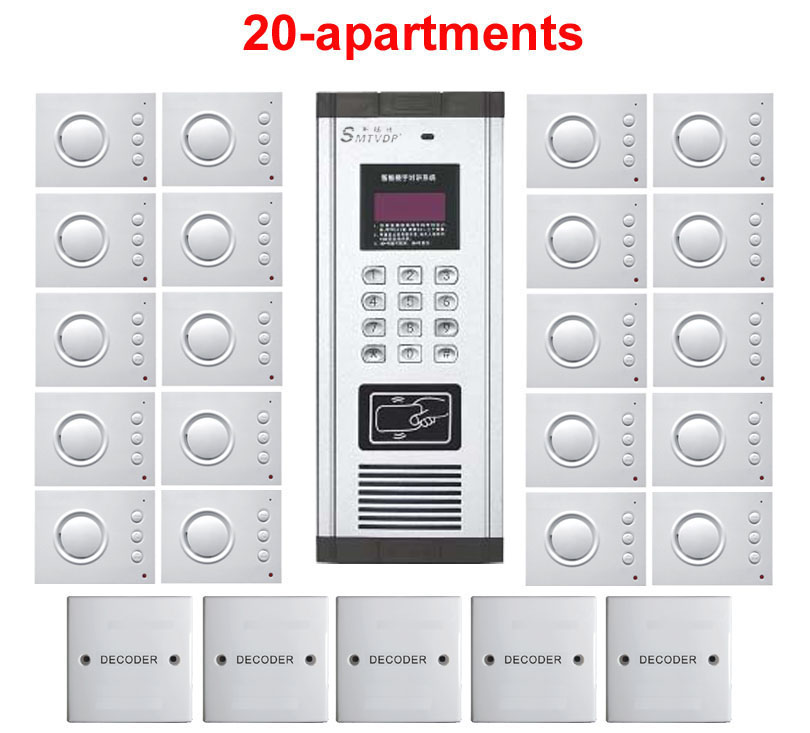 Einfach Xinsil Neue Ankunft Sicherheit Nicht-visuelle Gebäude Intercom System 20-wohnung Hand-free Audio Tür Telefon Passwort & Id Karte Entsperren Exquisite Traditionelle Stickkunst