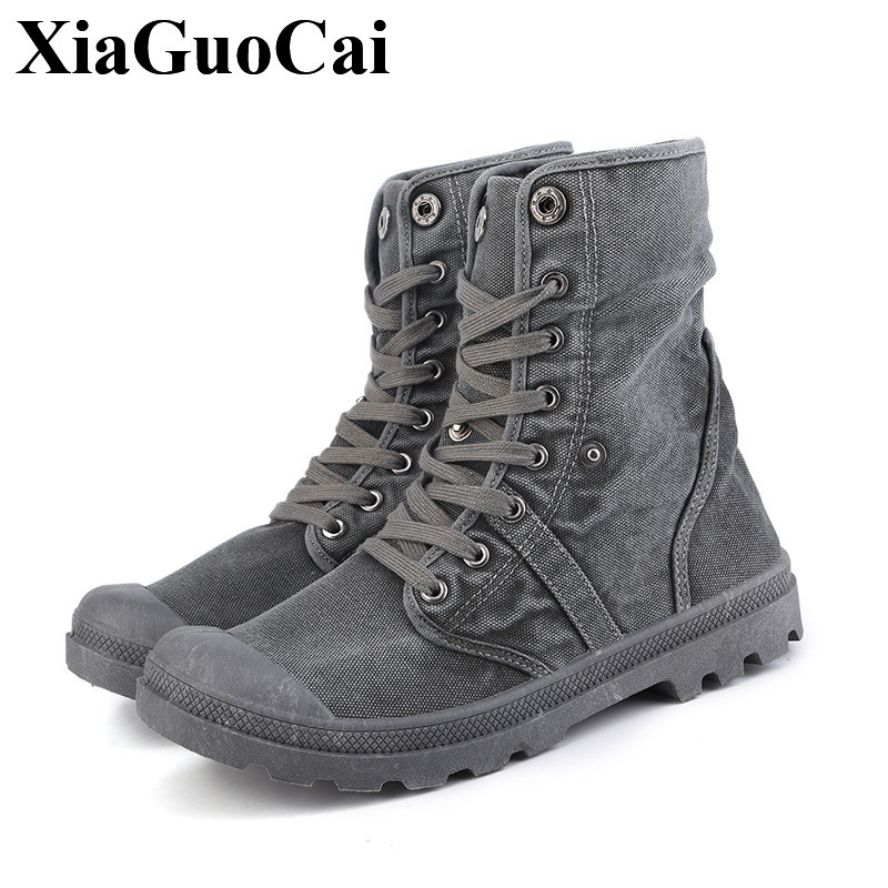 New Fashion High-top Canvas Shoes Men Retro Gray Denim Lace-up Casual Shoes High Quality Wear-resistant Antiskid Flat Shoes H607 2016 hot men s high top canvas shoes lace up men british fashion casual shoes adults denim cool student