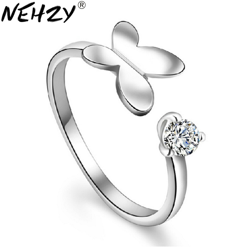 NEHZY Silver minded butterfly opening ring female models fashion cute retro crystal jewelry manufacturers, wholesale jewelry