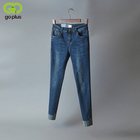 GOPLUS 2017 New Deep Contrast Hems Jeans Woman Slim Fit Ankle Length Stretch Denim Mid Rise