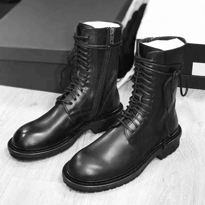 Knsvvli Nieuwe Lace Up Motorlaarzen Vrouwen Zwart Lederen Ronde Neus Toevallige Herfst Schoenen Platte Hakken Korte Laarzen Vrouw-in Enkellaars van Schoenen op  Groep 2