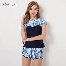 AONIHUA Plus Size Women Swimsuits Print Floral Slim Short Sleeve Top Short Pants Wetsuit Swimwear Two Piece Surfing Swim Suits все цены