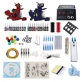 Professional Complete Tattoo Kit 2 Machine Gun Shader Liner 20 Pigments Power Supply System Choosing Cable Contact Machine Power