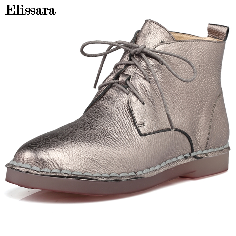 Elissara Handmade Vintage Genuine Leather Women Boots Comfortable Casual Lace Up Round Toe Boots Soft Plus Size 34-43 front lace up casual ankle boots autumn vintage brown new booties flat genuine leather suede shoes round toe fall female fashion