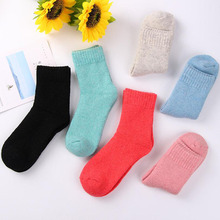 New Solid Winter Thermal Cashmere Socks Women Warm Rabbit Wool Socks Women's Thicken Socks Girl Casual Socks 6 pairs/lot
