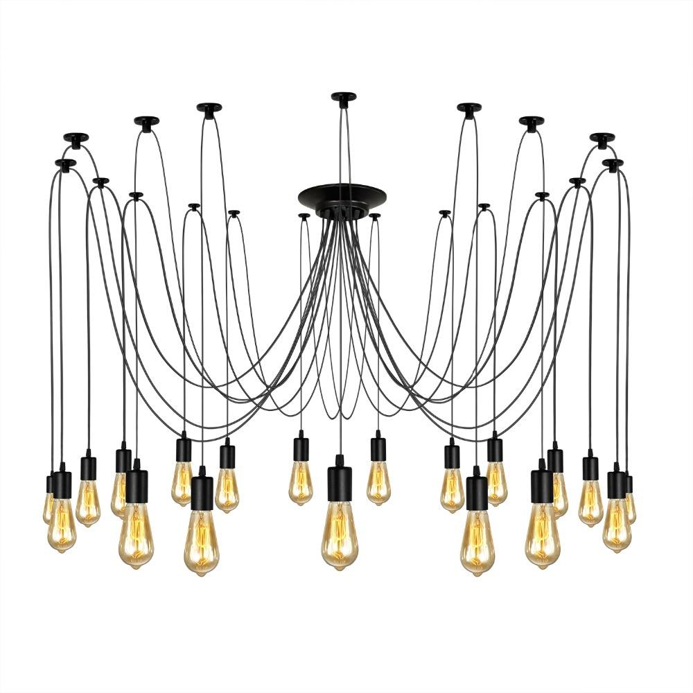 Loft Rh Industrial Warehouse Pendant Lights American: Homestia 18 Heads Spider Ceiling Lamps Novelty Adjustable