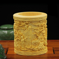 Carved solid wood pen holder Decoration of  Boxwood arts and crafts home furnishings gift   handmade artwork
