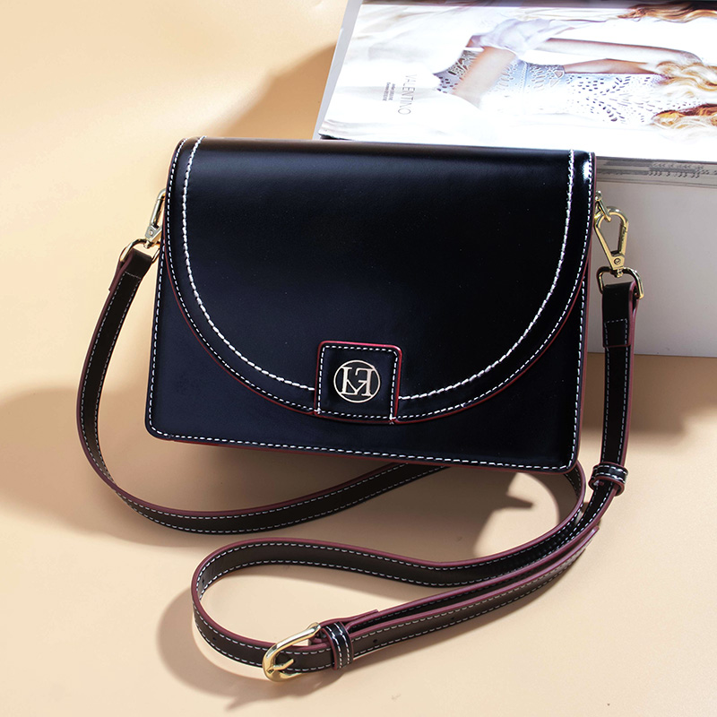 AOEO Womens Shoulder Bag Crossbody Small Bags For Woman Black And White Split Leather High Quality