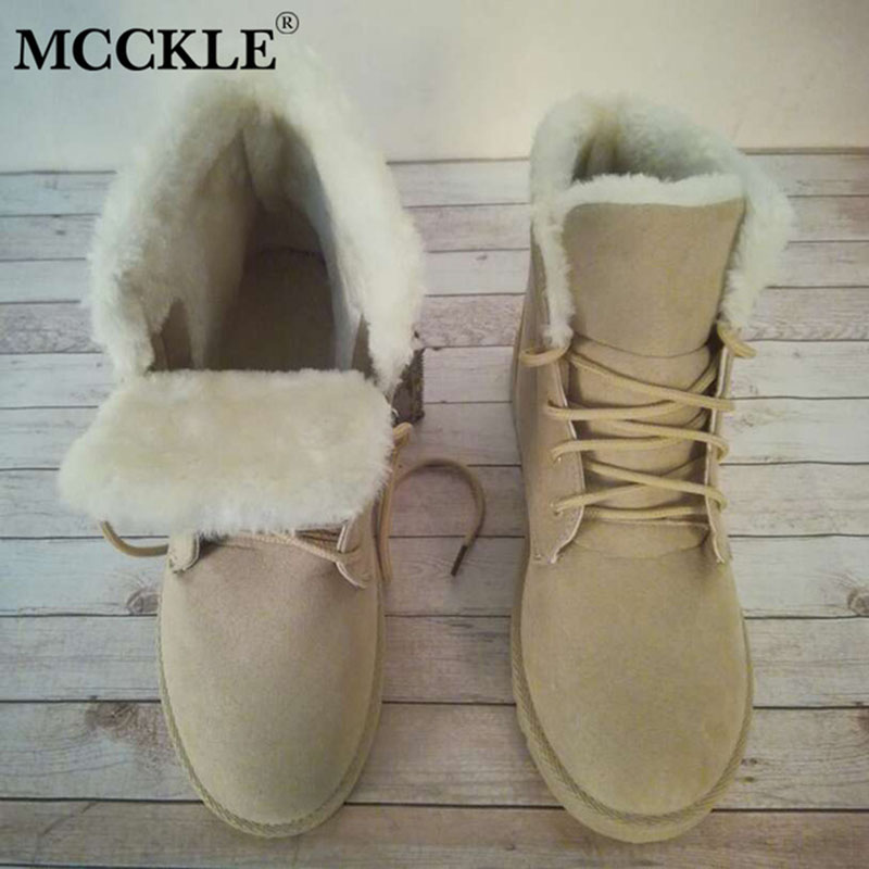 MCCKLE Women Plus Size Casual Warm Fur Plush Snow Boots Female Lace Up Platform Flat Winter Ankle Boots Shoes Drop Shipping shoes women flat winter ankle autumn snow boots 2017 female lace up fur boots brand outdoor sport girl shoe size 35 41 page 6