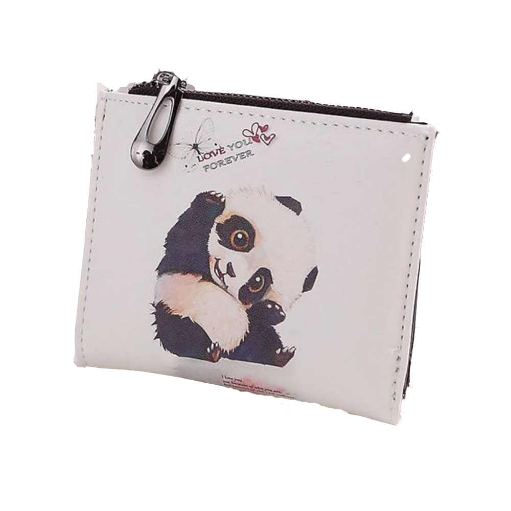 1 Pcs Super Hot Sale Women Vintage Panda Modern PU Leather Zipper Coin Clip Purse Short Christmas Gifts for Friends