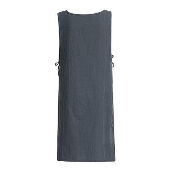 JAYCOSIN mujeres vestido Túnica de algodón vestido Casual delantal con bolsillos estilo japonés Pinafore vestido suelto mujer ropa sin mangas