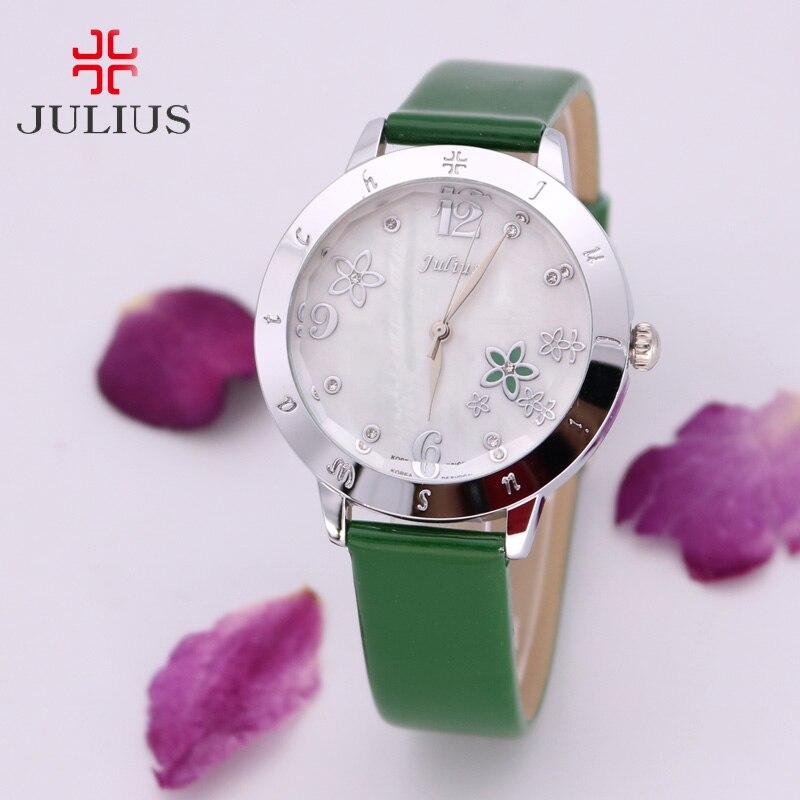 Mother-of-Pearl Japan Quartz Lady Women's Watch Elegant Flower Fashion Hour Bracelet Leather Clock Girl Birthday Gift Julius Box