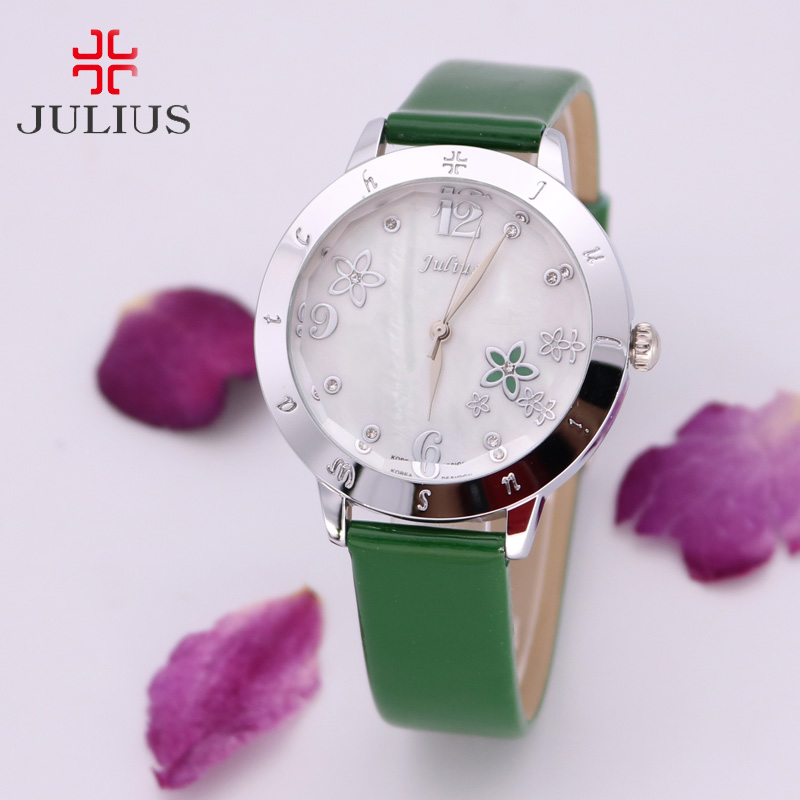 Mother-of-Pearl Japan Quartz Lady Women's Watch Elegant Flower Fashion Hour Bracelet Leather Clock Girl Birthday Gift Julius Box lady of magick