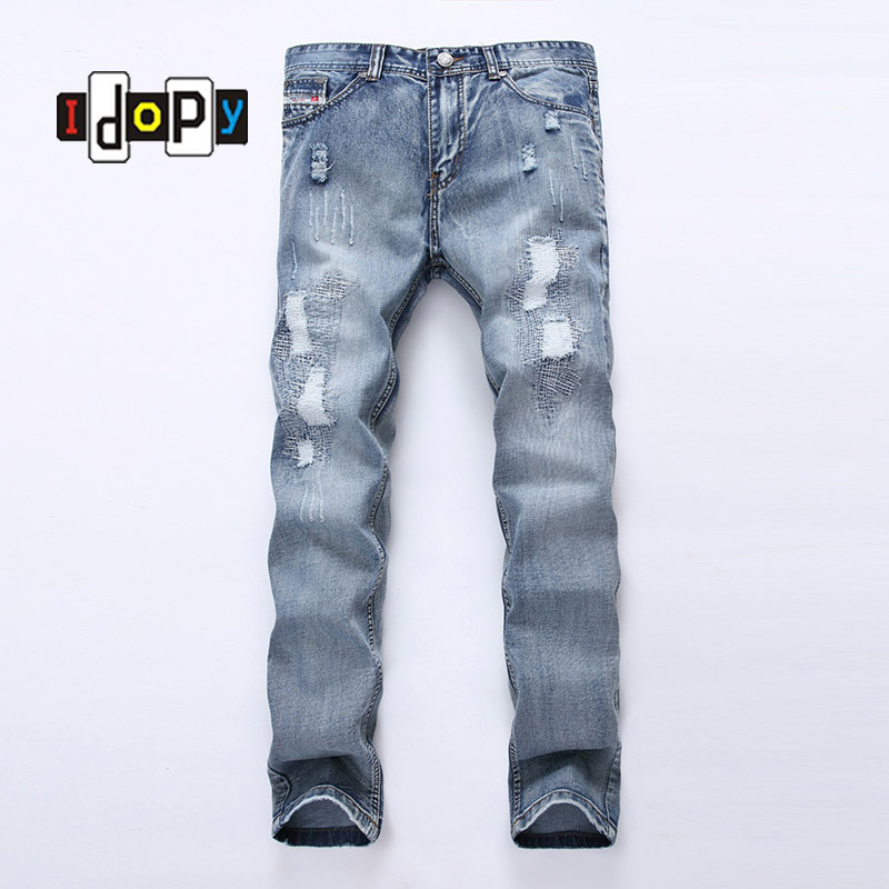 ФОТО Fashion Men`s Ripped Jeans Acid Washed Vintage Teared Torn Straight Fit Distressed Denim Pants With Holes