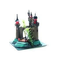 Mini Cartoon Simulation Resin Plant Castle Aquariums Fish Tank Tower Ornaments Accessories Decoration Green Brown