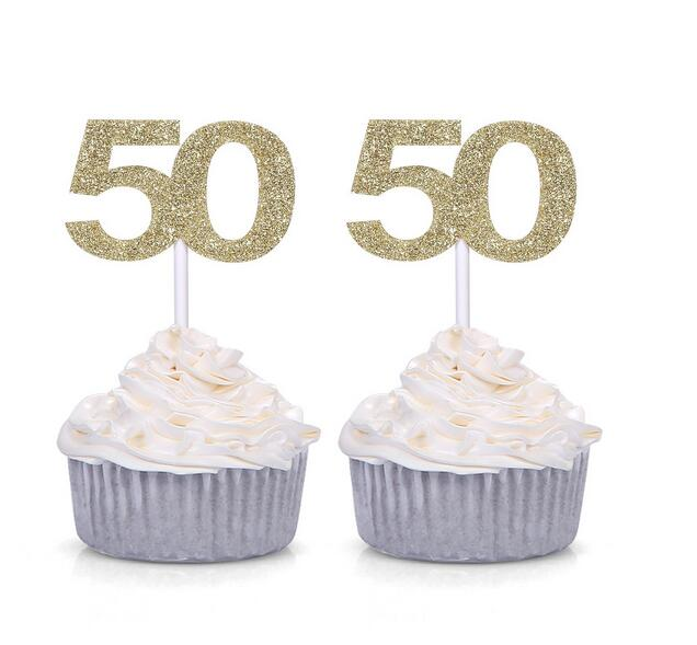 10pcs Golden Silver Black Number 50 Cupcake Toppers 50th Birthday Celebration Party Decors