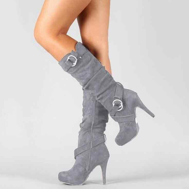 Bayan kadın ince topuklar seksi parti Zip binici çizmeleri kadın streç kumaş kemer akın uzun yüksek topuklu motosiklet Boots ayakkabı