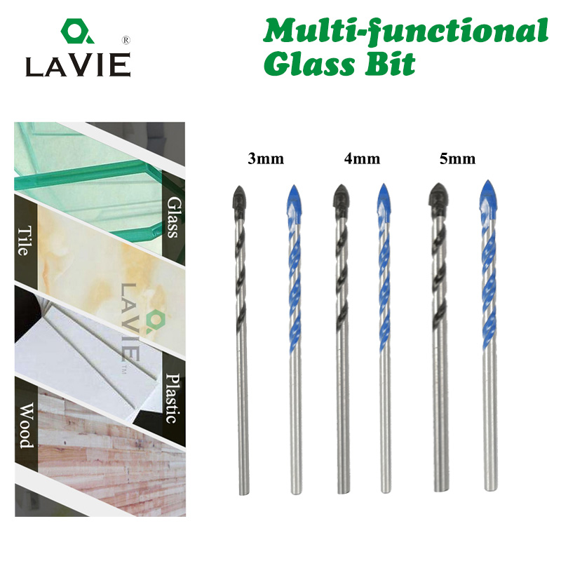 LAVIE 10pcs 3mm 4mm 5mm Multi-functional Glass Drill Bit Triangle Drill Bits For Ceramic Tile Concrete Glass Marble DB02056