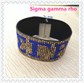 Sigma gamma rho full of stone bracelet SGR leather bling bangle magnetic clasp fraternity sorority jewelry.OGL003.5-10pcs